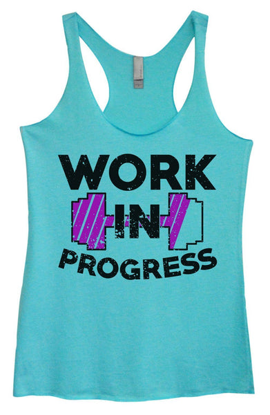 Womens Tri-Blend Tank Top - Work In Progress Funny Shirt Small / Vintage Blue
