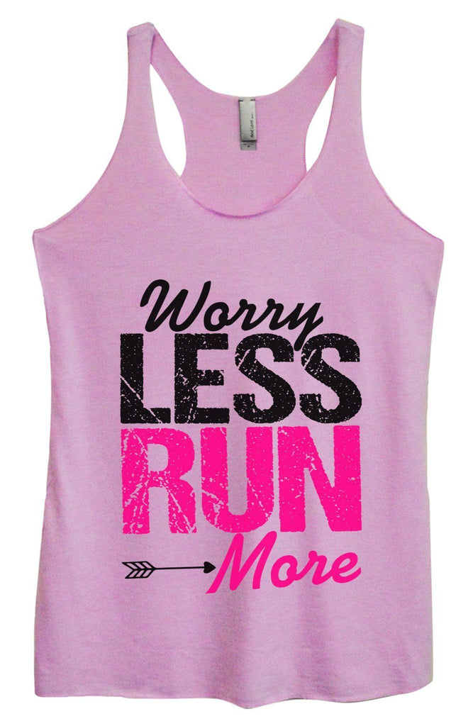 Womens Tri-Blend Tank Top - Worry Less Run More Funny Shirt Small / Vintage Lilac