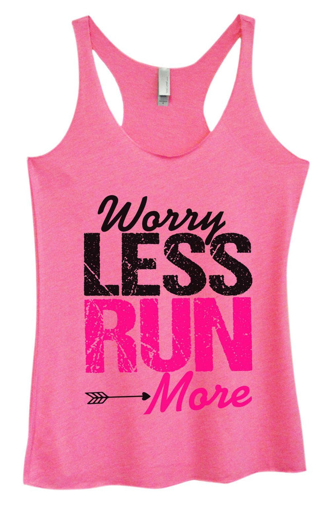 Womens Tri-Blend Tank Top - Worry Less Run More Funny Shirt Small / Vintage Pink