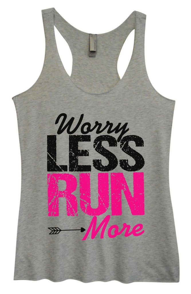 Womens Tri-Blend Tank Top - Worry Less Run More Funny Shirt Small / Vintage Grey