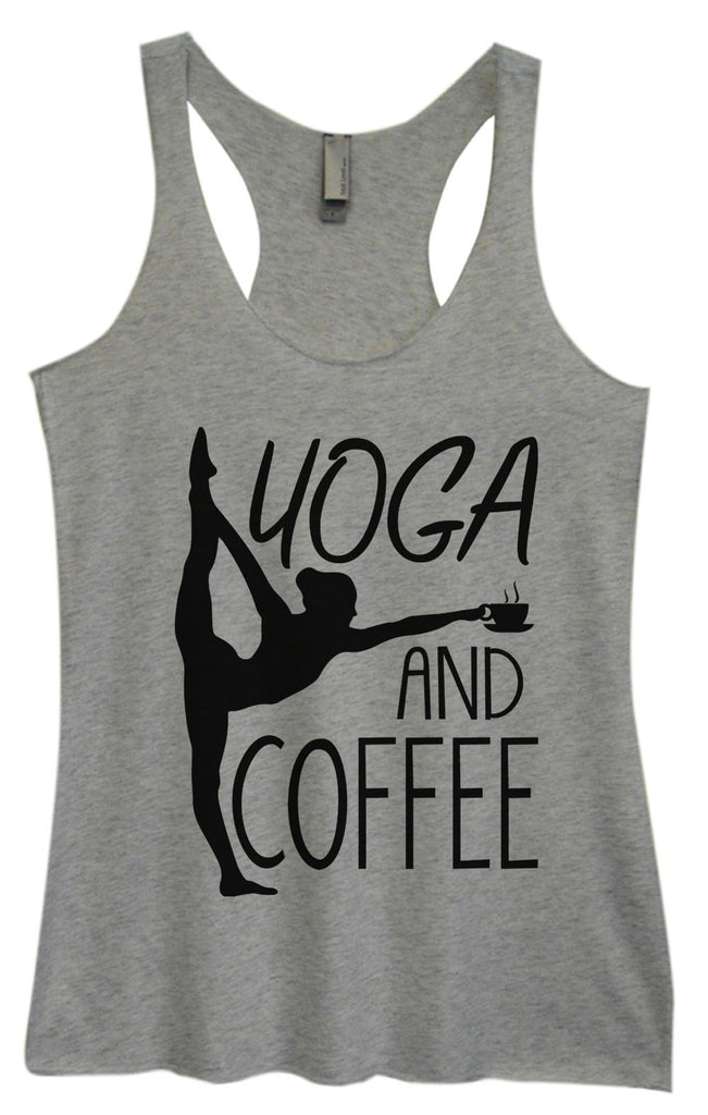 Womens Tri-Blend Tank Top - Yoga And Coffee Funny Shirt Small / Vintage Grey