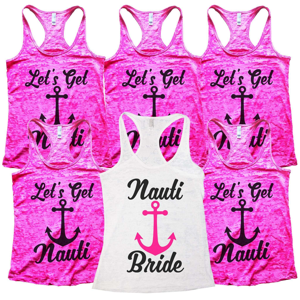 "Womens Wedding Bride and Bridesmaid Tank Tops  - ""Lets Get Nauti & Nauti Bride"" Funny Shirt"