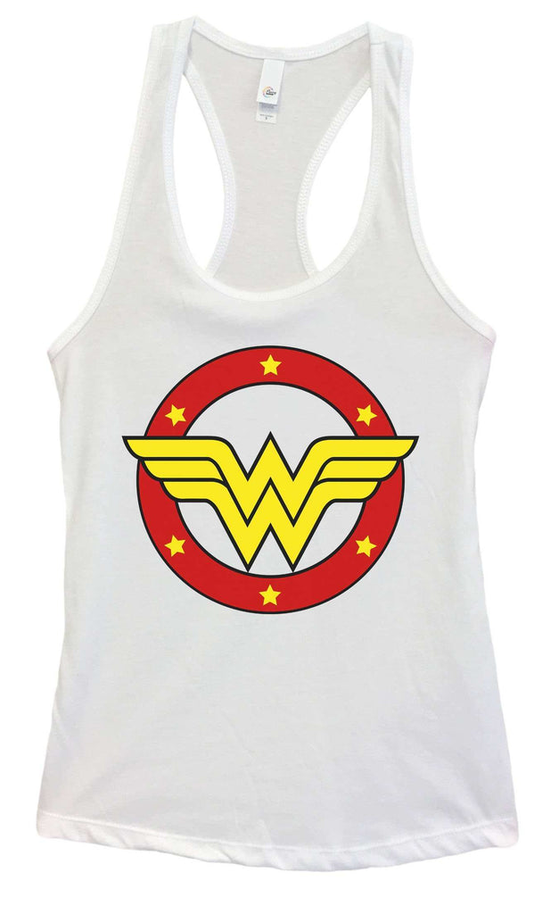 Womens Wonder Woman Grapahic Design Fitted Tank Top Funny Shirt Small / White