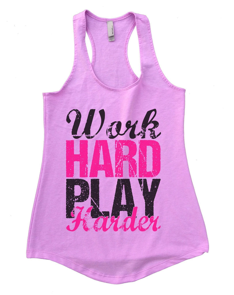WORK HARD PLAY HARDER Womens Workout Tank Top Funny Shirt Small / Lilac