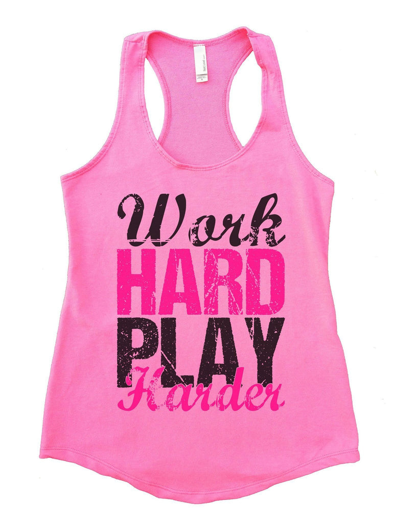 WORK HARD PLAY HARDER Womens Workout Tank Top Funny Shirt Small / Heather Pink