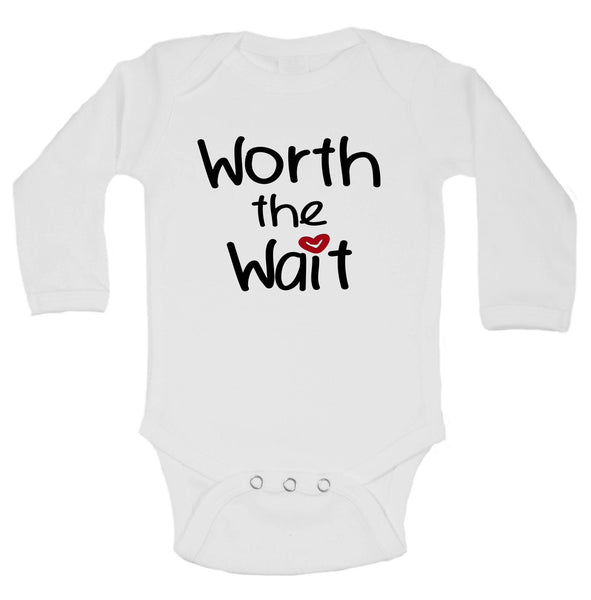 Worth The Wait Funny Kids Onesie Funny Shirt Long Sleeve 0-3 Months