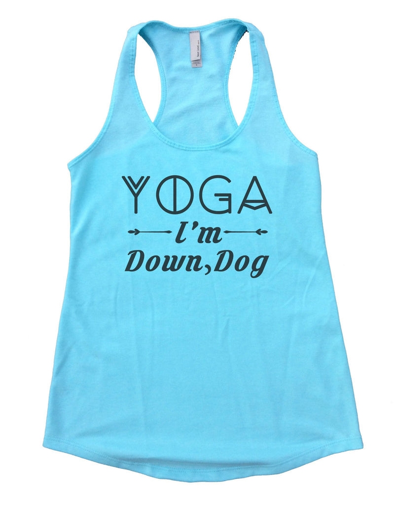 Yoga I'm Down, Dog Womens Workout Tank Top Funny Shirt Small / Cancun Blue