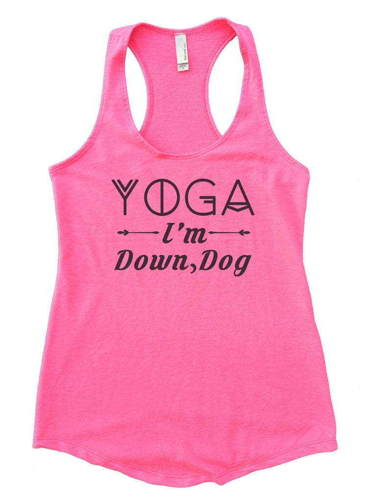 Yoga I'm Down, Dog Womens Workout Tank Top Funny Shirt Small / Heather Pink