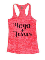 Yoga + Jesus Burnout Tank Top By Funny Threadz Funny Shirt Small / Shocking Pink