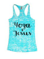 Yoga + Jesus Burnout Tank Top By Funny Threadz Funny Shirt Small / Tahiti Blue