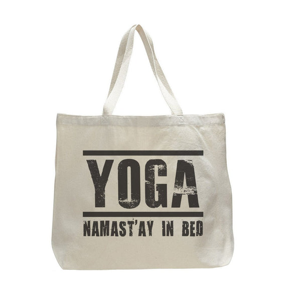 Yoga Namaste In Bed - Trendy Natural Canvas Bag - Funny and Unique - Tote Bag Funny Shirt