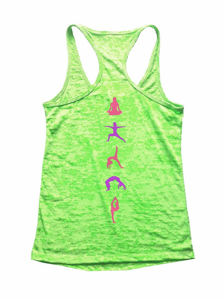 Yoga Positions Printed On Back Burnout Tank Top By Funny Threadz Funny Shirt Small / Neon Green