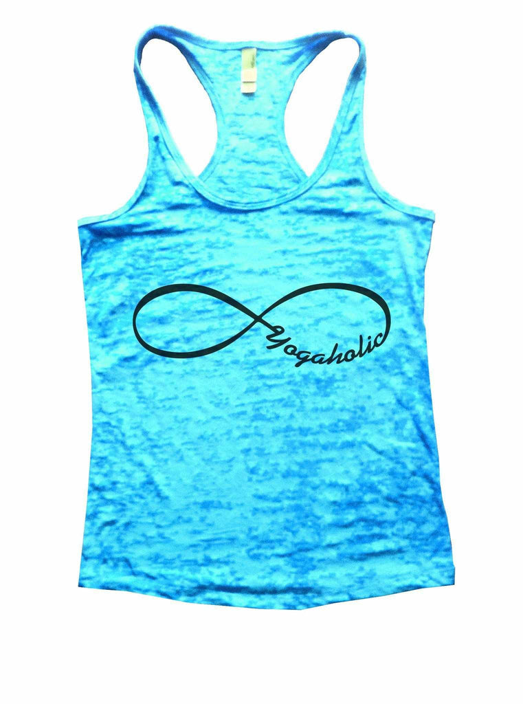 Yogaholic Burnout Tank Top By Funny Threadz Funny Shirt Small / Tahiti Blue
