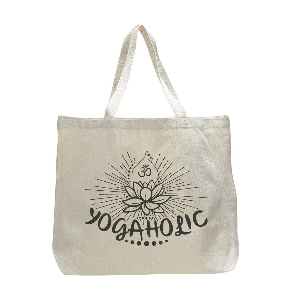 Yogaholic - Trendy Natural Canvas Bag - Funny and Unique - Tote Bag Funny Shirt