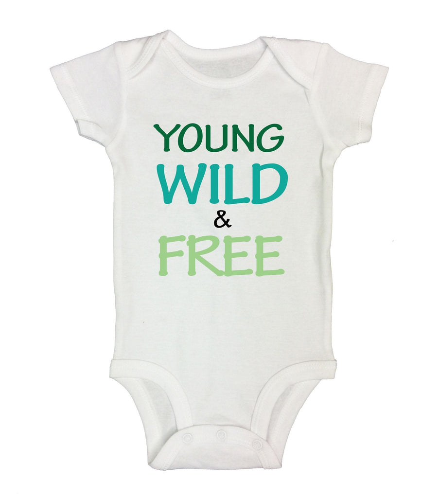 Young Wild & Free Funny Kids Onesie Funny Shirt Short Sleeve 0-3 Months