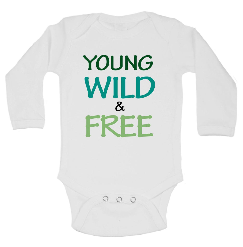 Young Wild & Free Funny Kids Onesie Funny Shirt Long Sleeve 0-3 Months