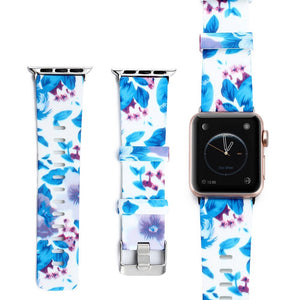 blue flower apple watch strap