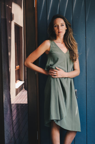 Willow Dress in Moss Washed Crepe