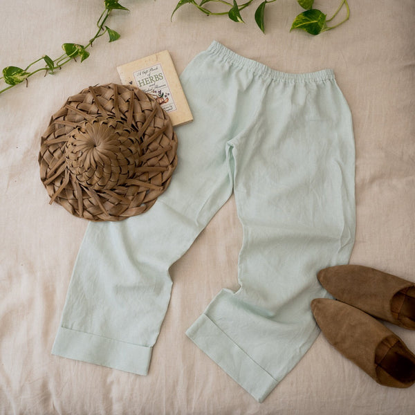 Oleander Trousers in Sage Linen