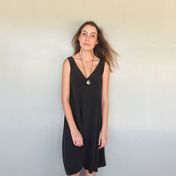 Willow Dress in Black Washed Crepe