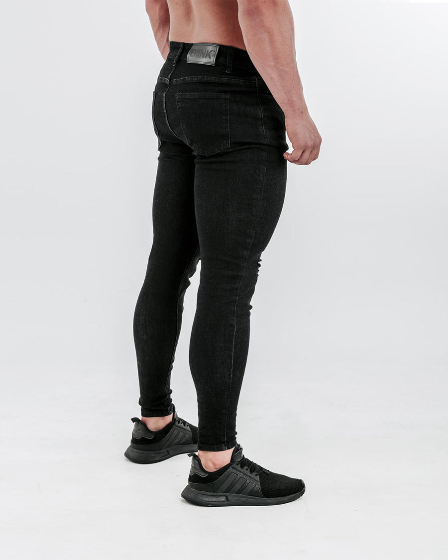 Slim-Stretch Jeans - Black (Ripped)