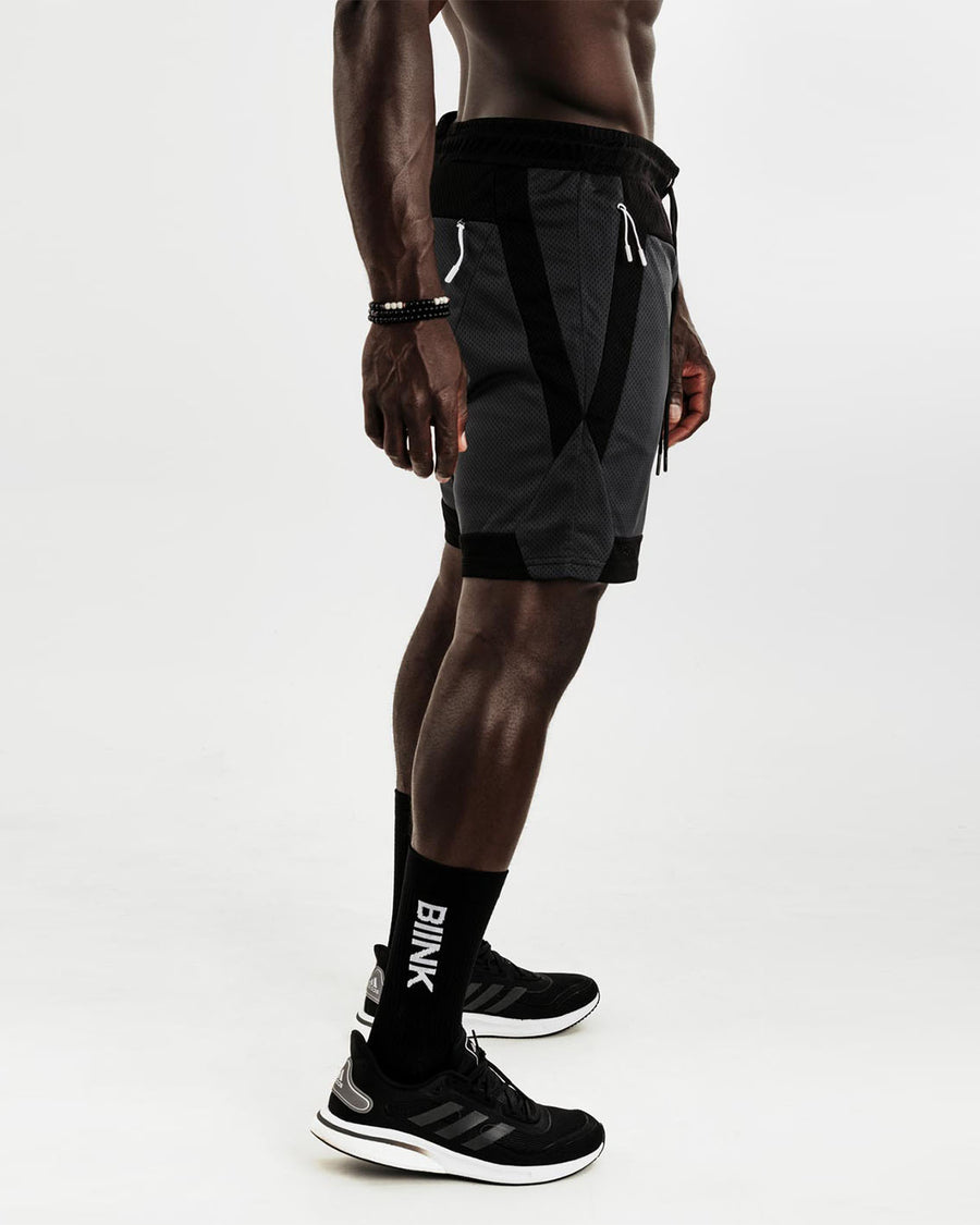 Mesh Panel 2-in-1 Basketball Shorts - Black / Gunmetal
