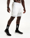Mesh Panel 2-in-1 Basketball Shorts - White / Off White