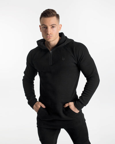 CrossFleece 1/4 Zip Hood - Black