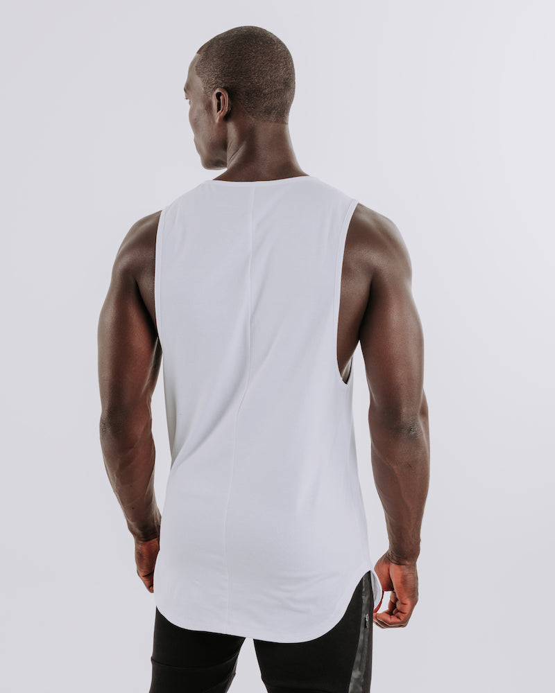 Box Logo Cut Off Tank - Crisp White