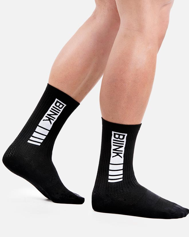 Unisex Compression Sports Performance Socks - Black / White