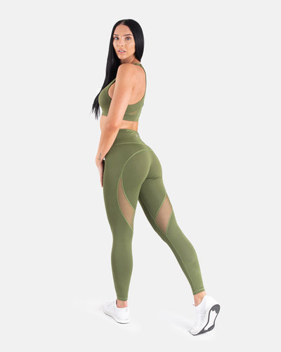 Staple Mesh Leggings - Olive