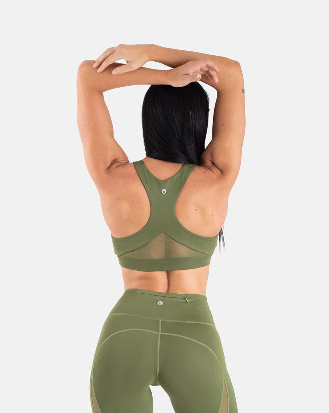 Staple Mesh Sports Bra - Olive