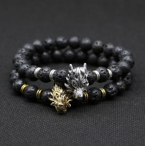 Wolf Head Bracelet With Black Lava Rock Stone - 50% OFF + FREE SHIPPING