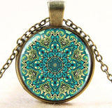 Vintage Yoga Mandala Lotus Necklace