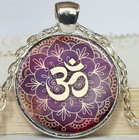 Yoga Purple Lotus Flower Silver Necklace