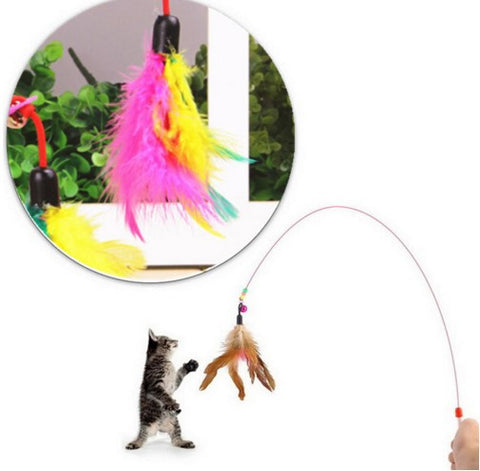 Cat Toy Wire Chaser Feather With Bell Beads