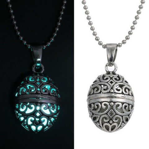 Steampunk Magic Oval Glow In The Dark Necklace