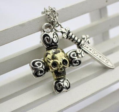 Once Upon A Time Captain Hook Swords Skeleton Necklace