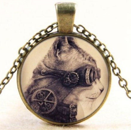 Steampunk Cat Cabochon Glass Bronze Chain Pendant Necklace