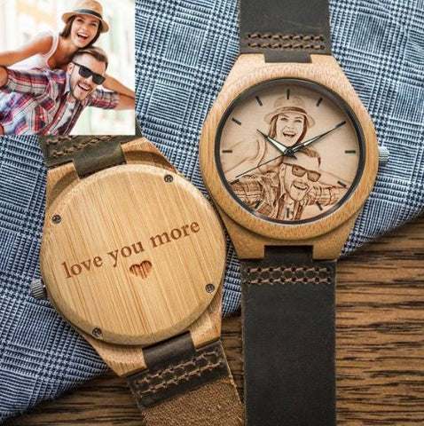 CUSTOM-ENGRAVED PHOTO WOOD WATCH