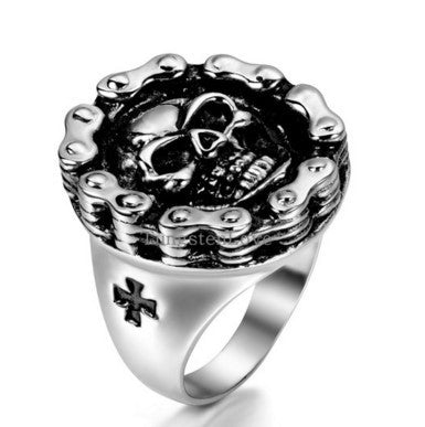 CHAIN LINK SKULL RING - 60% OFF + FREE SHIPPING