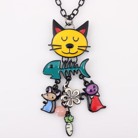 Colorful French Cat Long Chain Necklace - 50% OFF + FREE SHIPPING