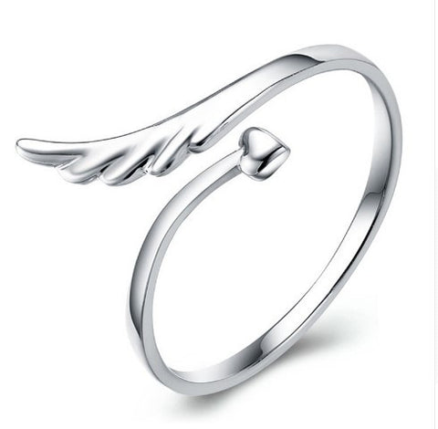 Silver Angel Wing Resizable Ring