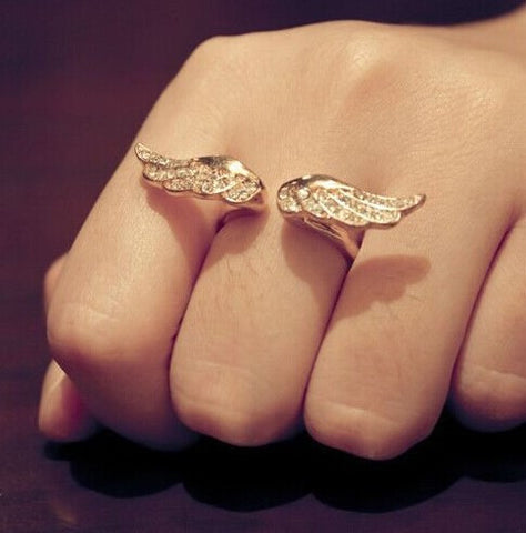 Angel Wings Golden Resizable Ring