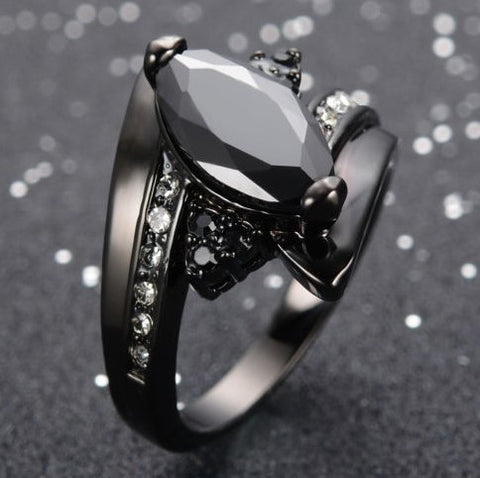 Steampunk Black Gem Ring