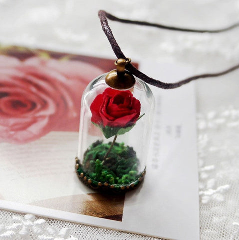 Beauty and The Beast Rose Glass Necklace - 50% OFF + FREE SHIPPING
