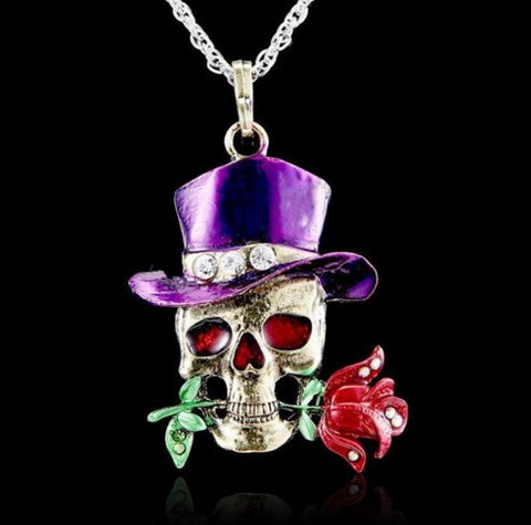 SKULL FLOWER CRYSTAL NECKLACE- 50% OFF + FREE SHIPPING