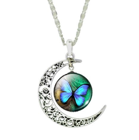 CRESCENT MOON TURQUOISE BUTTERFLY NECKLACE