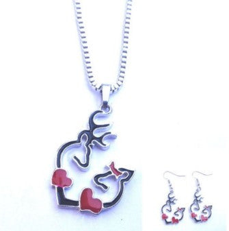 DEER LOVE NECKLACE AND EARRINGS BLACK