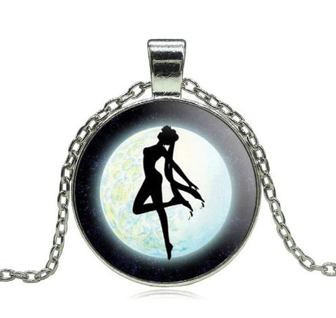 Sailor Moon Glass Cabochon Pendant Necklace